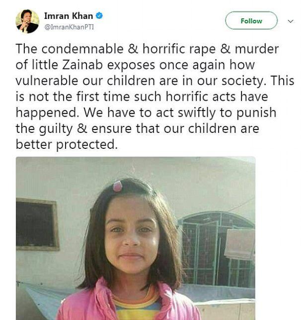 Imran Khan tweet demanding justice for Zainab Fatima Ameen 1.jpg