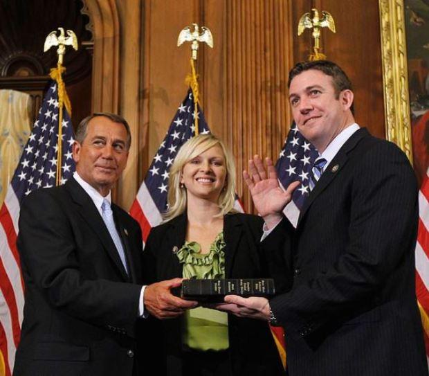 Duncan Hunter [right], his wife and Speaker John Bohner in 2011.JPG