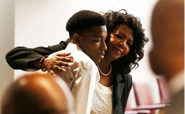 Faith Johnson hugs Kevon Edwards 1.JPG