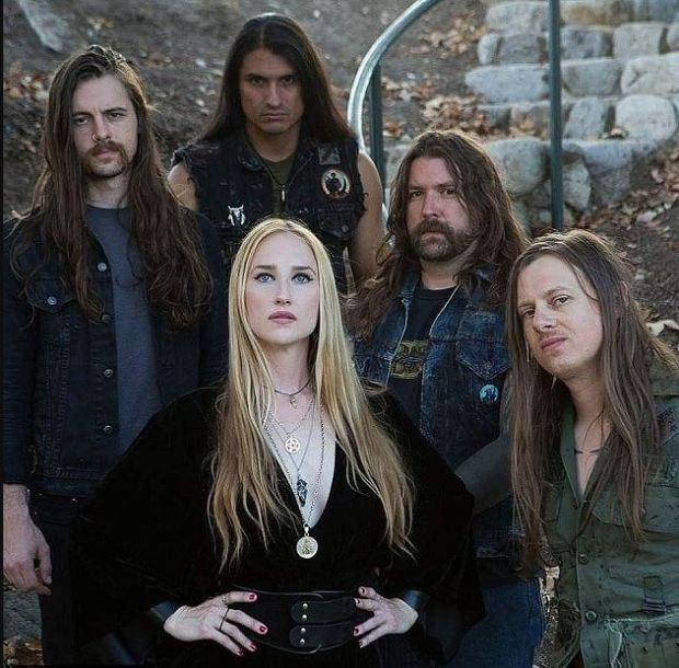 Jill Janus with the other members of the band, Huntress 1