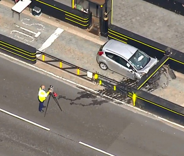 car was stopped in its tracks by a new security barrier