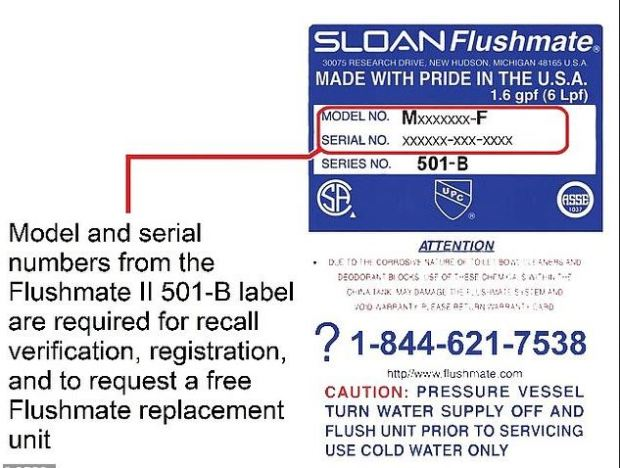 Flushmate II 501-B pressure-assisted flushing system recall 4