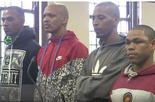 Vernon Witbooi, Geraldo Parsons, Nashville Julius, and Eben Van Nieberk, in court 3.JPG