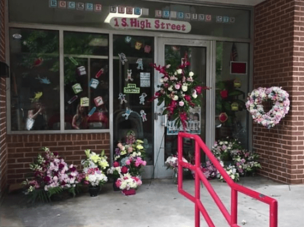 Memorial for Reese Bowman outside Rocket Tiers Learning Center in Baltimore .png