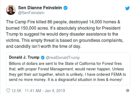 Diane Fienstein response on FEMA fire fund 1