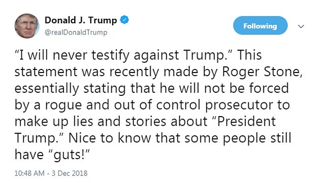 Donald Trump tweet about Roger Stone arrest 1