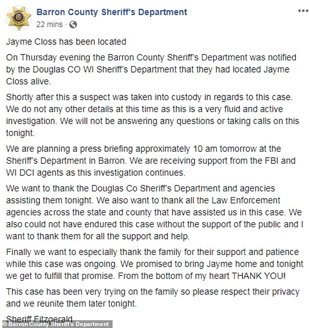 Message of thanks from Barron County Sherrif's dept 1