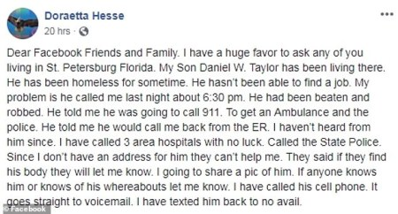 message from Dorothy Hess, Daniel Taylor's mother'