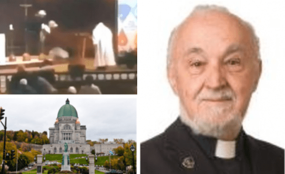Young man in baseball cap stabs a priest after chasing him around the altar during televised mass at a Baslica in Montreal