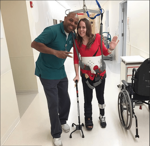 Erin Rollings learns how to walk again