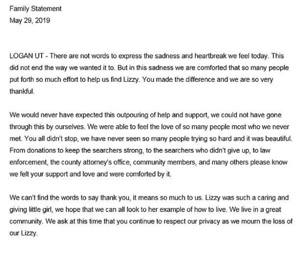 Shelley family's statement after Elizabeth's body was found 1