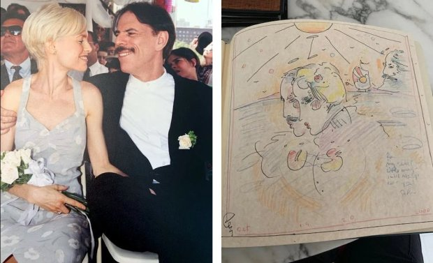 Mary and Peter Max at their wedding in 1997