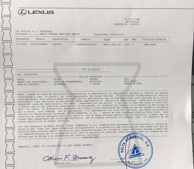 Purchase order in Dominican Republic for SUN David Ortiz bought for model 1