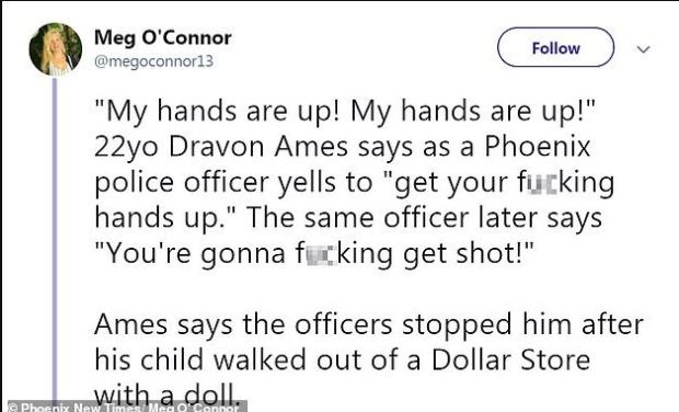 Tweet exposing event o cops surround Dravon Ames and his family with guns drawn 1.