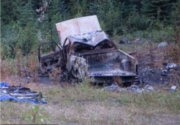 Kam Mcleod, 1and Bryer Schmegelsky's  first vehicle , a Dodge truck, was found burned on July 18. Nearby was Dyck's body.JPG