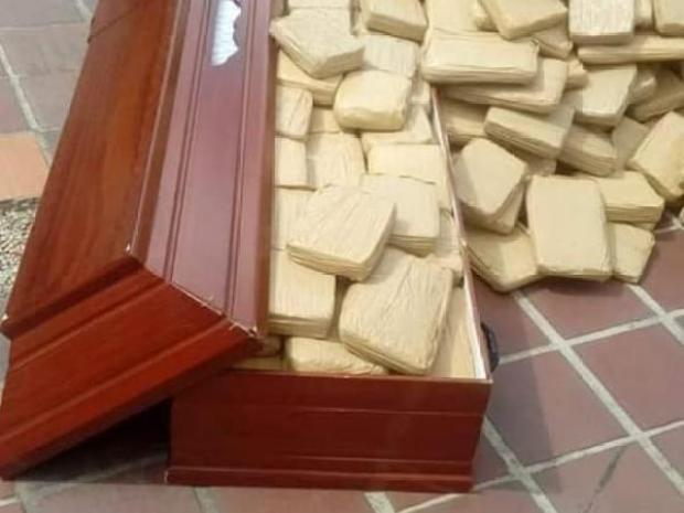 Colombian police discover cannabis haul hidden in a coffin 7