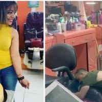 Jealous husband sprawls over lifeless body of estranged wife, weeping, after killing her in savage knife attack when he stormed the New York nail salon where she worked