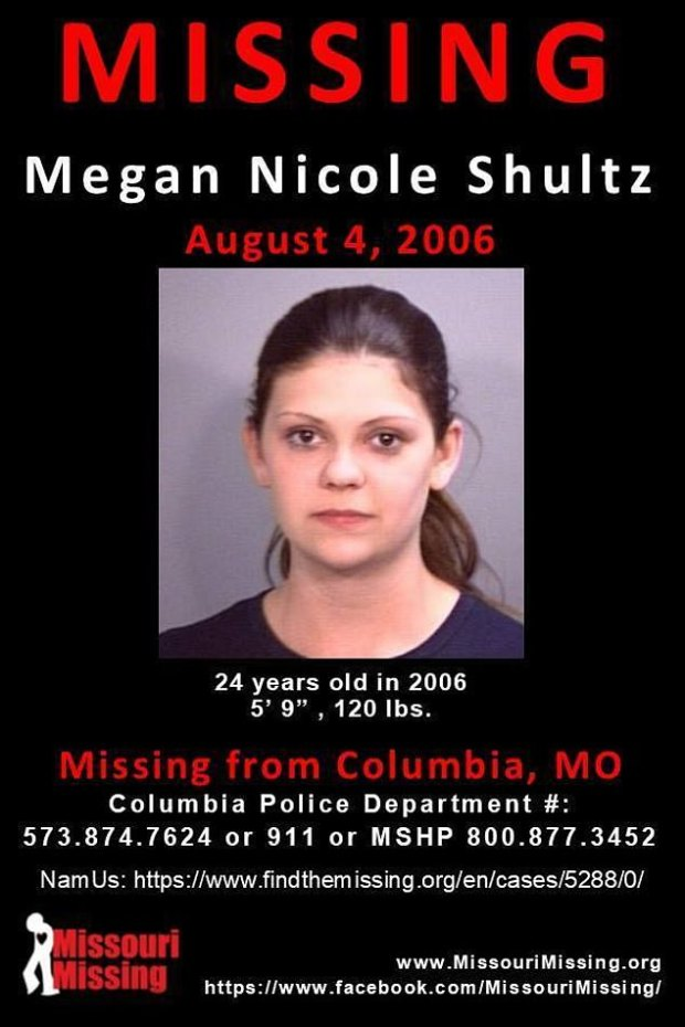 Missing person flyer for Megan Nicole Shultz 2