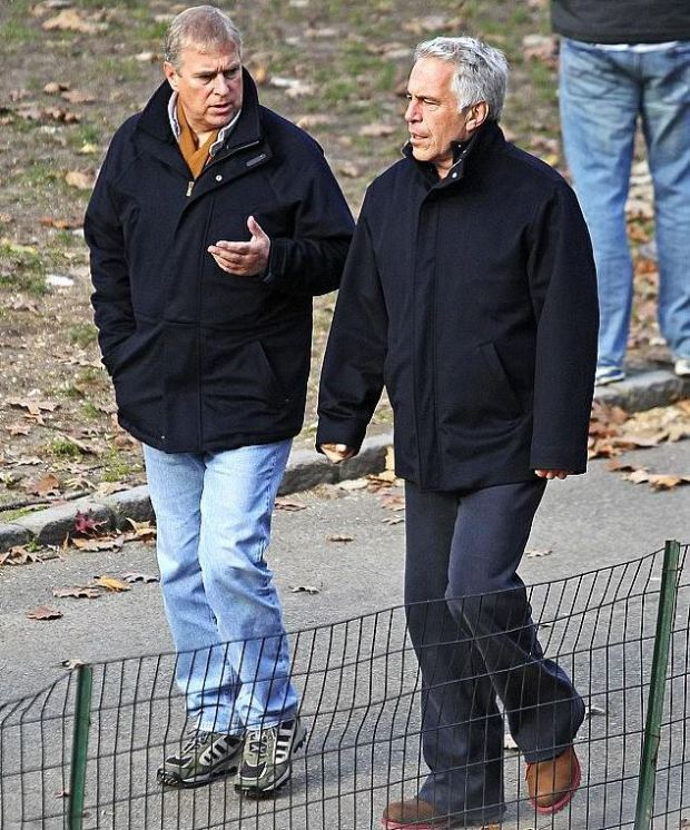 Prince Andrew [left] with Jeffrey Epstein [right], stroll around Central Park in Dec 2010