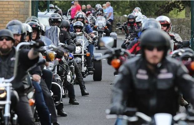 300 motorbikes led a hearse with two Lamborghinis, when the two boys were remembered at Grenoside Crematorium on Aug 8 2018.JPG