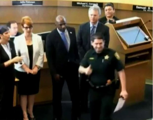 Commissioner E. Mike Gelin told Deputy Joshua Gallardo 'You're the police officer who falsely arrested me four years ago' 2