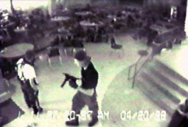 Eric Harris, left, and Dylan Klebold during their April 20, 1999 shooting rampage at Columbine High School, in Littleton, Colorado.JPG