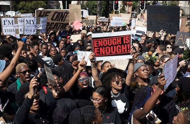 Protesters outside Parliament in cape Town, SA over assault crimes 3