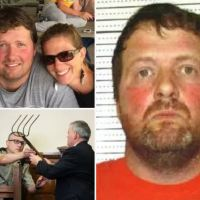 Trial underway for Todd Mullis, pig farmer accused of killing his wife with a corn rake because she was having an affair after he claimed she fell on it - Prosecutors say Amy Mullis had six puncture wounds and the tool only had four tines