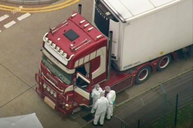 Container truck was found to contain a large number of dead bodies, in Thurock, south England on Oct 22 b