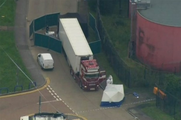 Container  truck was found to contain a large number of dead bodies, in Thurock, south England on Oct 22.jpg