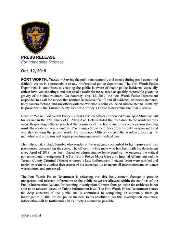 Press release statement detailing the incident between Atatiana Jefferson and the officer who shot her.jpg