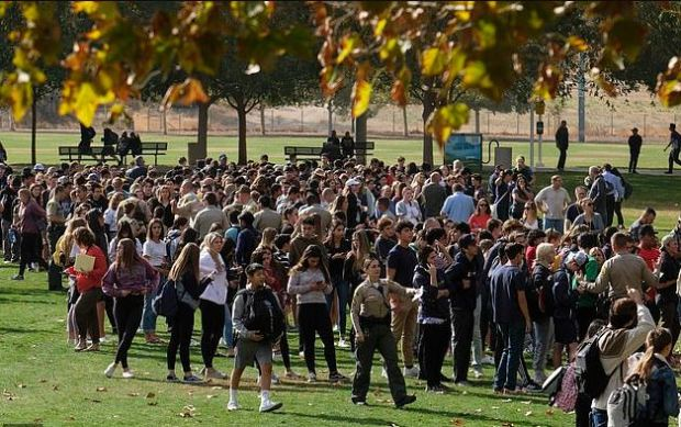 Students evacuate after California school shooting on Nov 14, 2019 1.JPG