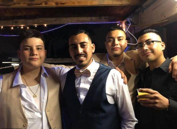 Joe Melgoza with his brothers on his wedding day.JPG