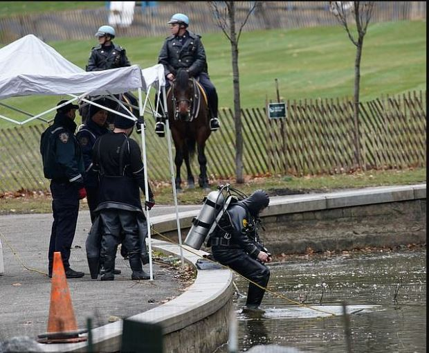 Police divers continued to search the pond in the park on Friday morning for more evidence in the death of Tessa Majors 1