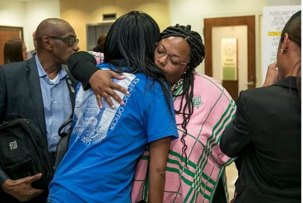 Samantha Dean's family hug after guilty verdict for her killers