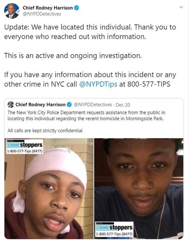 Tweet by NYPD Chie Rodney Harrison on Tessa Majors murder 1