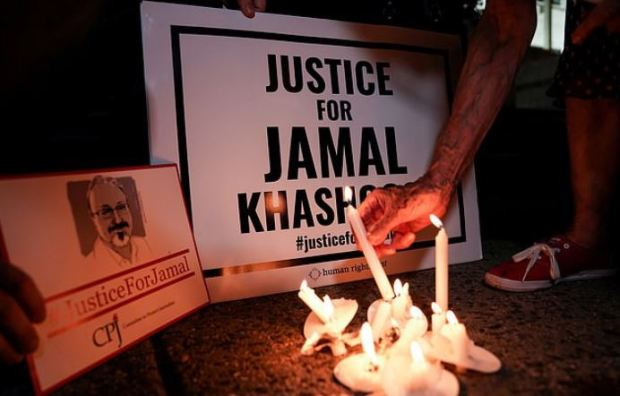 A candlelight vigil in front of the Saudi Embassy on anniversary of the killing of Jamal Khashoggi