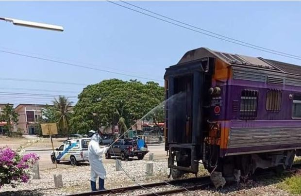 Health workers were later seen cleaning the carriage in Bangkok,Thailand2