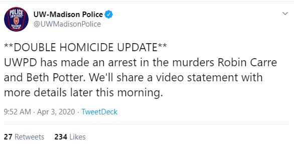 UW-Madison tweet on Carr, Potter double-homicide 1