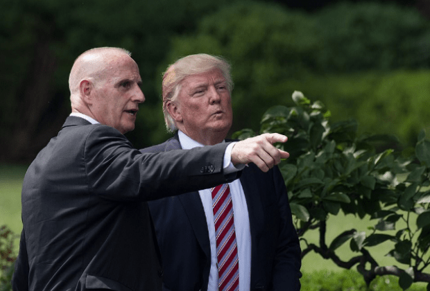 Donald Trump [right], and his private security Keith Schiller [pointing] 1