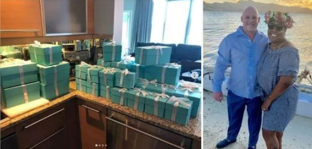 Latisha Harron and Timothy Mark Harron show off Tiffany boxes