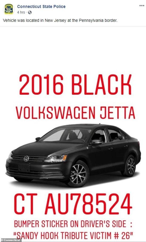 Peter Manfredonia's getaway car, a black 2016 Volkswagen Jetta