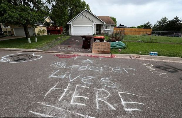 Graffiti outside Derek Chauvin's home in Minneapolis 1