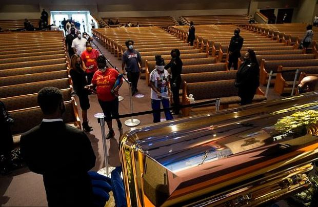 Mourners attend George Floyd's casket viewing in Houston, Tx on June 8 3