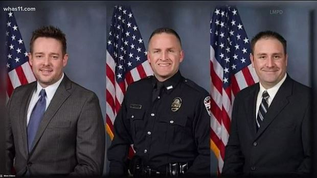 Sgt. Jonathan Mattingly, Detectives Brett Hankison and Myles Cosgrove [right] 1