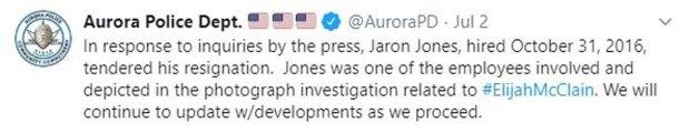 Aurora PD confirmed resignation of officer Jaron Jones 1