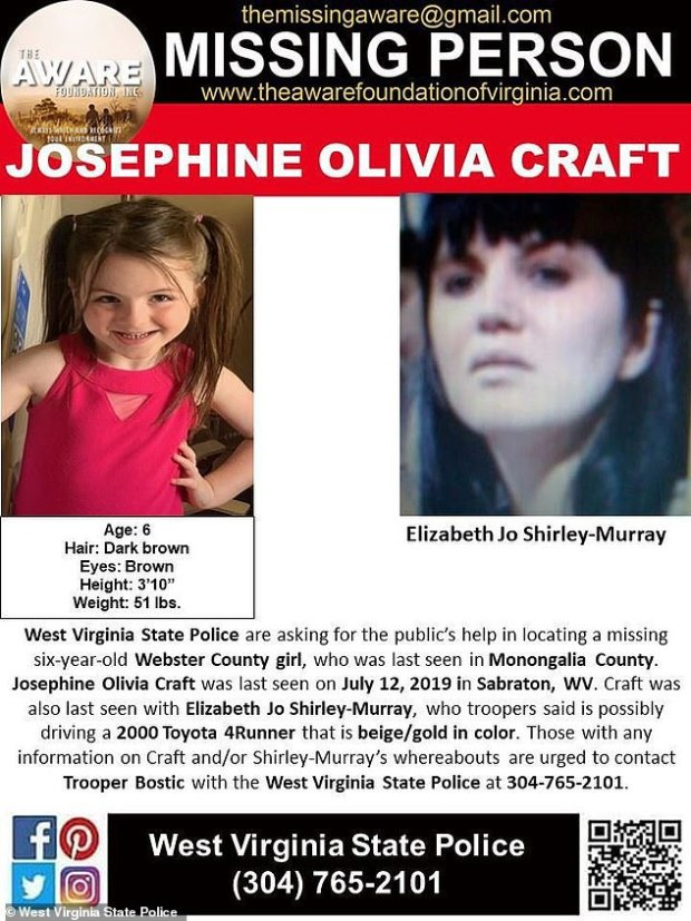 Missing person flier for Elizabeth Jo Shirley and her daughter 1