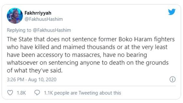 Nigerians react to Death Sentence of Yahaya Aminu Sharif by the Sharia Court 3