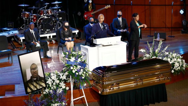 Rev Al Sharpton eulogises at Floyd's funeral service in Houston Texas 1