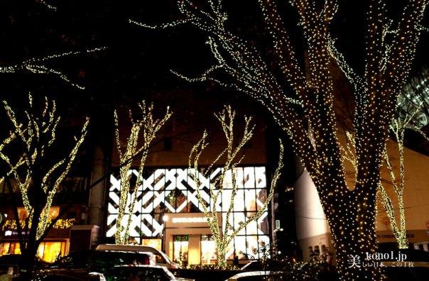 東京 夜景 表参道 クリスマスツリー シャンパンゴールド 緑led ペリエ perrier  イルミネーション LED